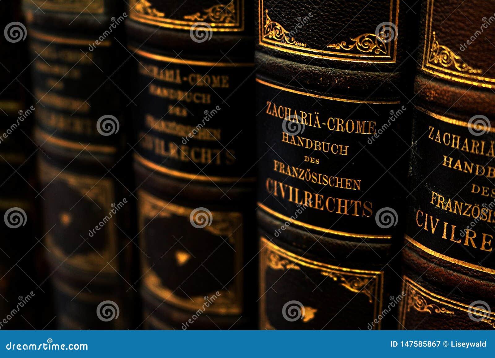 Rij van antieke handboeken over het Franse burgerlijk recht met leerdekking en Duitse titels in gouden brieven