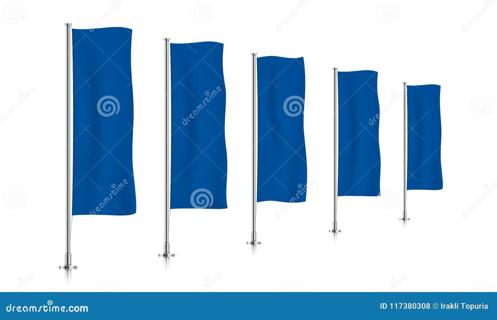 Rij van blauwe verticale bannervlaggen