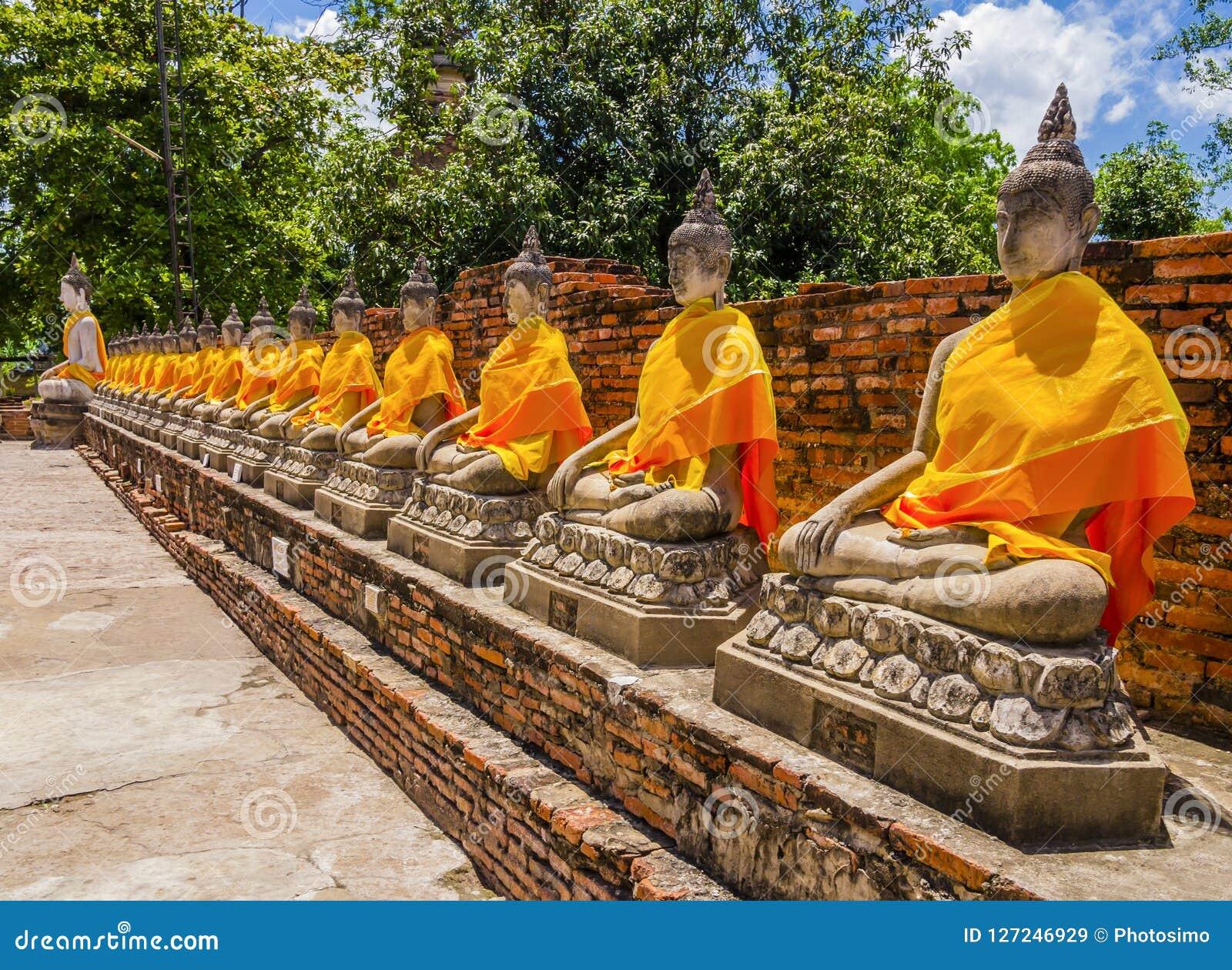 Rij van de standbeelden van Boedha met oranje robes in de oude Tempel van Ayutthaya