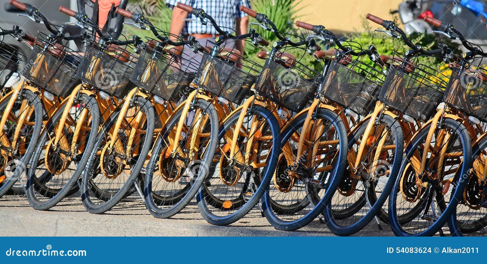 Rij van fietsen in een huuragentschap