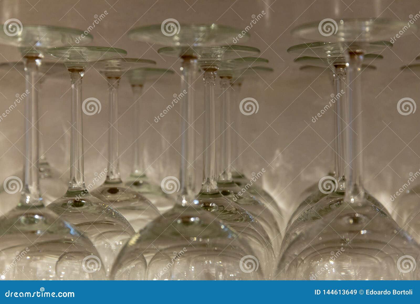 Rij van glazen