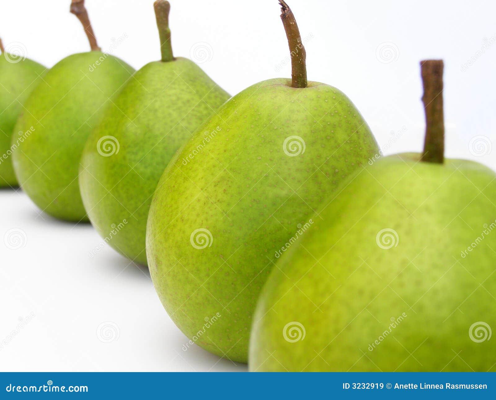 Rij van groene peren