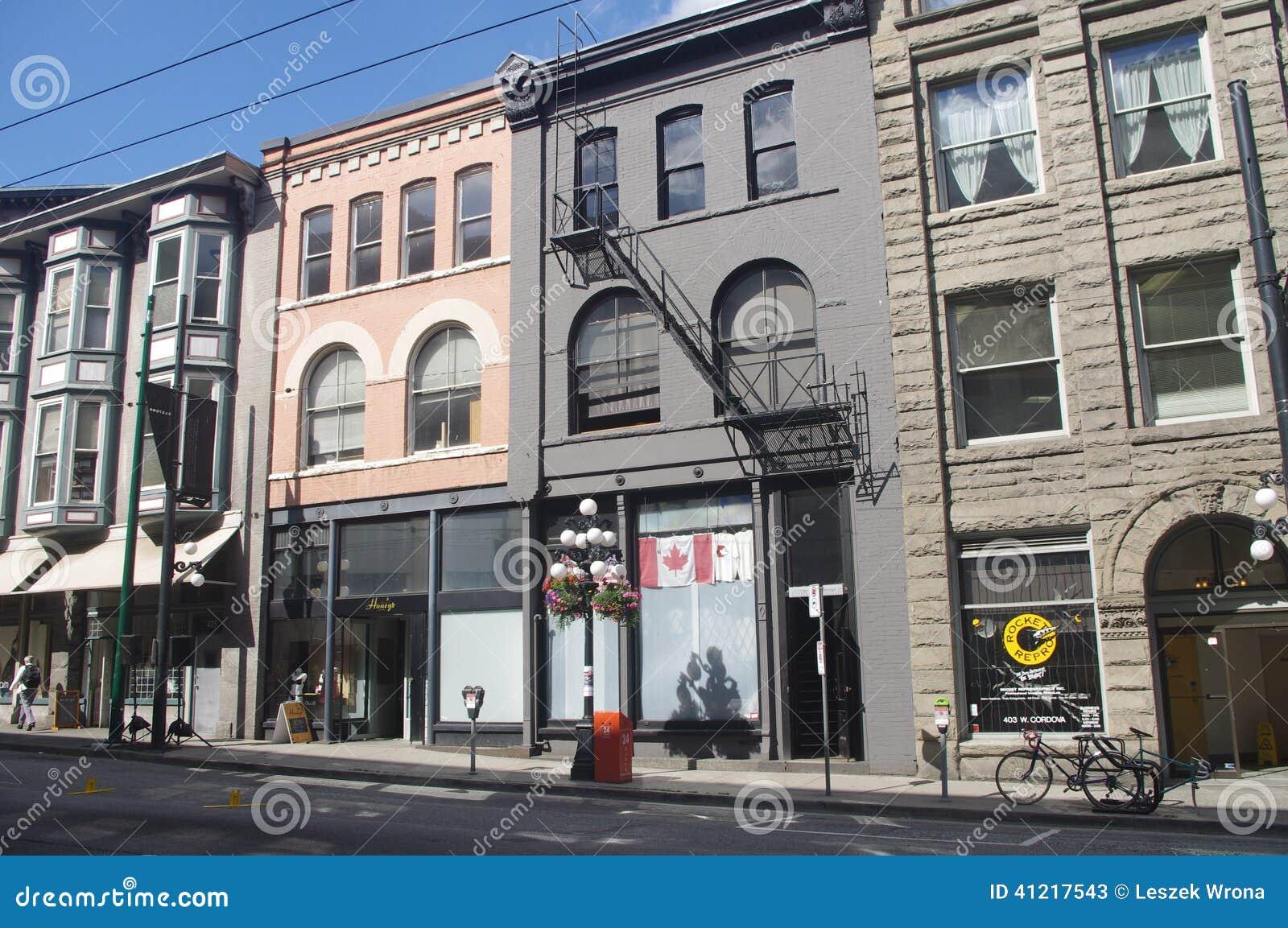 Rij van Historische gebouwen in Gastown