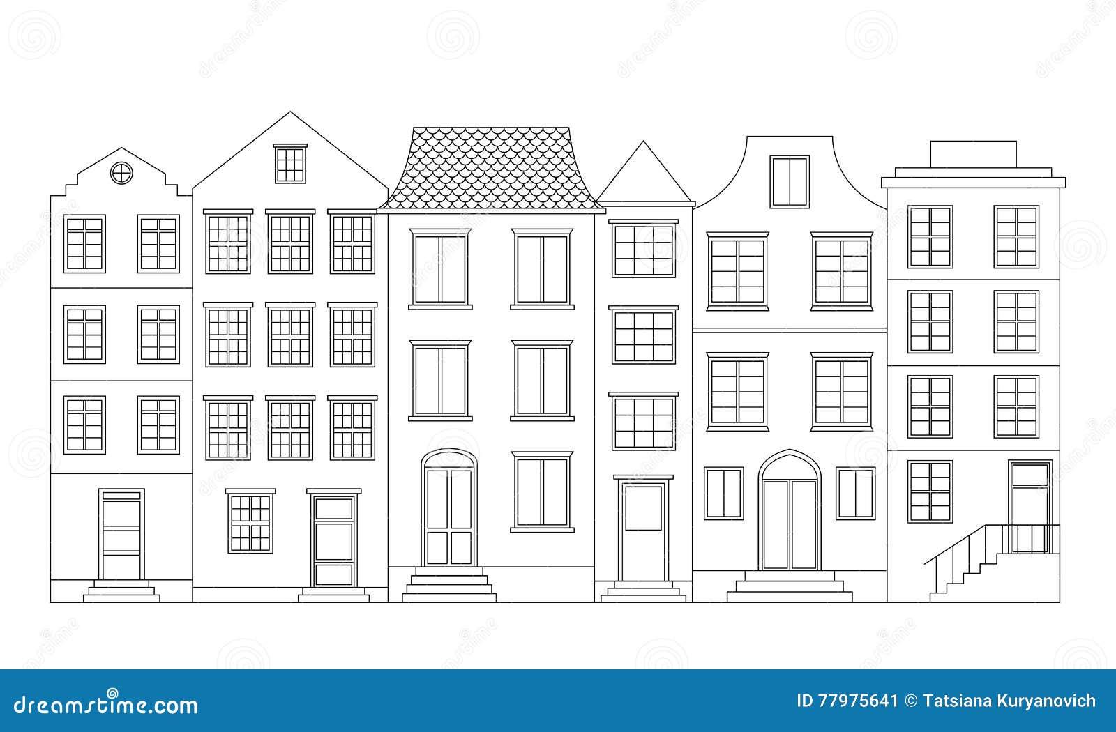 rij huizen vectorillustratie vector illustratie
