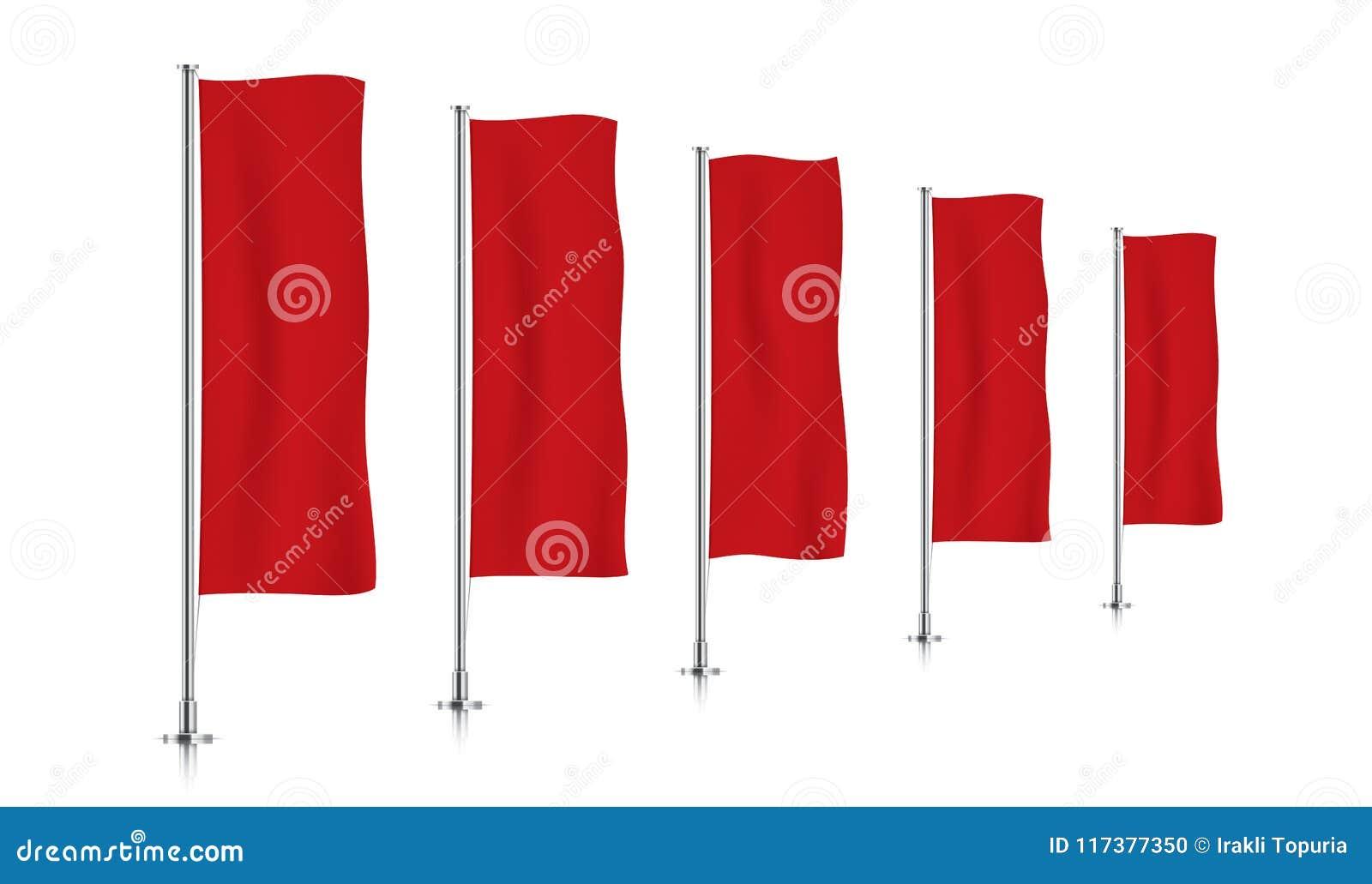 Rij van rode verticale bannervlaggen