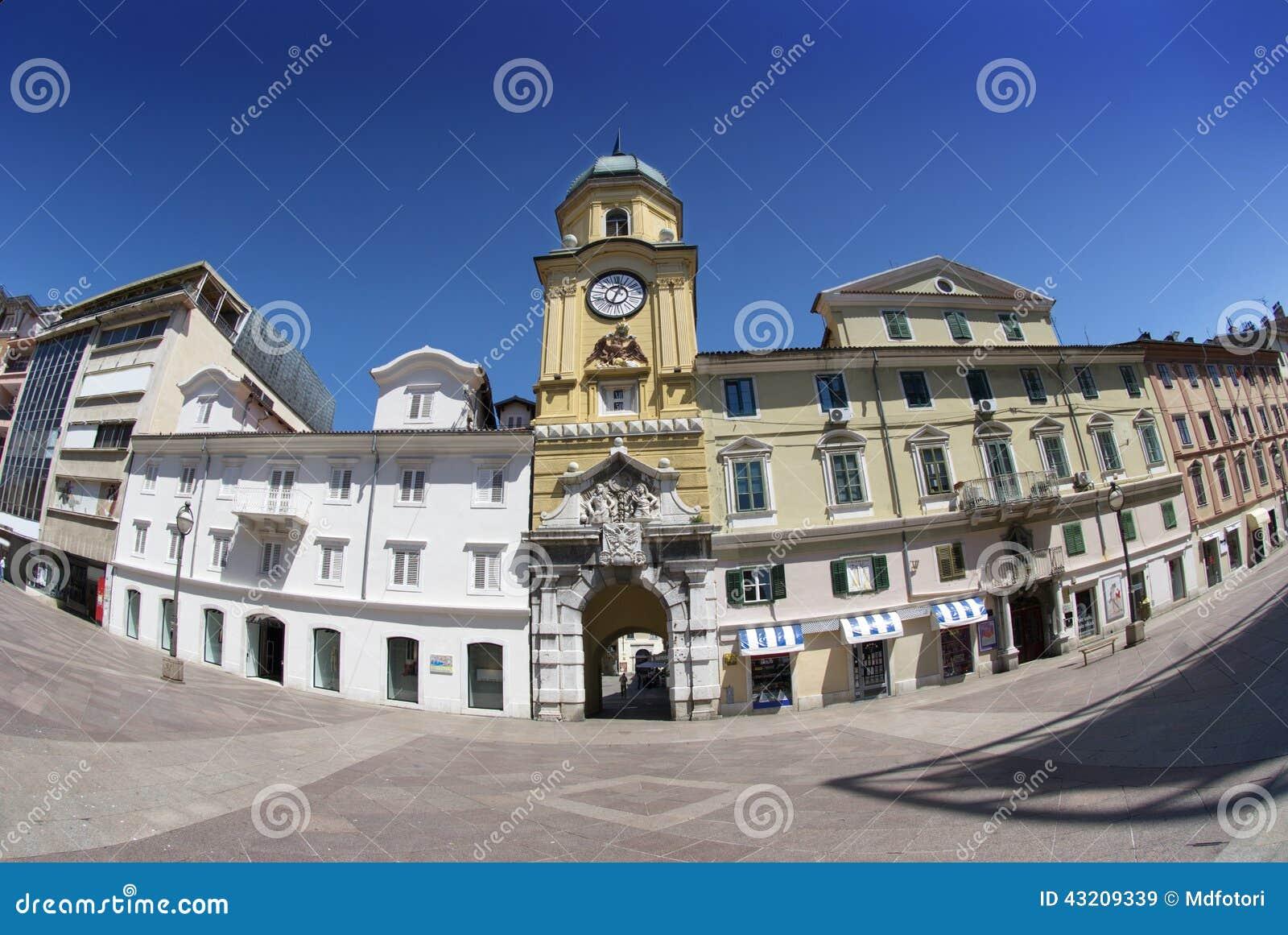 Download Rijeka Barockt Stadstorn I Kroatien Fotografering för Bildbyråer - Bild av luta, befästning: 43209339