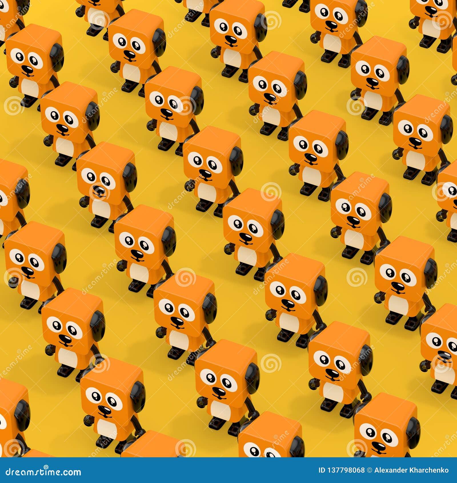 Rijen Leuk Oranje Beeldverhaal Toy Dog Character Persons het 3d teruggeven