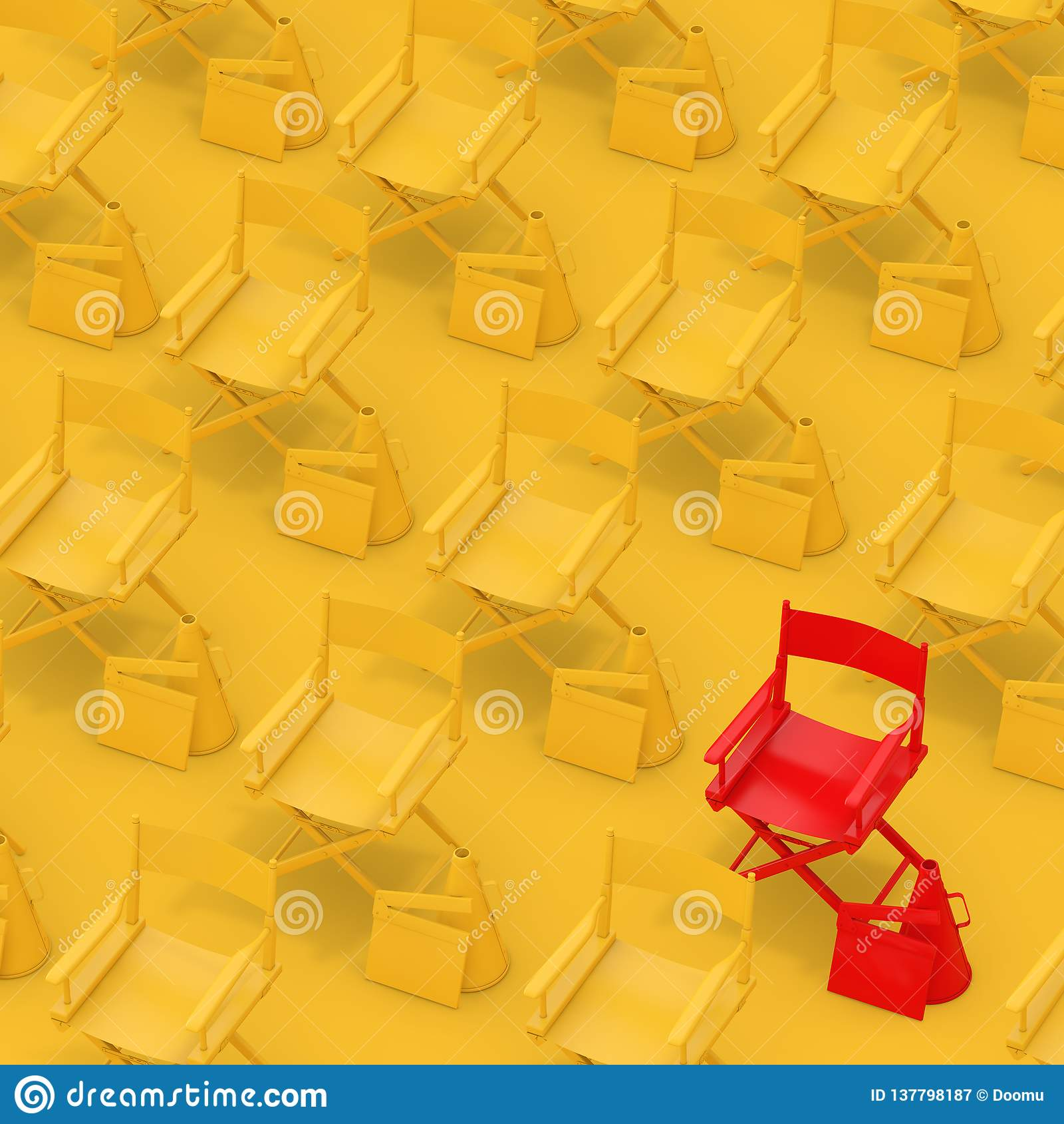 Rijen van Gele Directeur Chairs met Rode met Dakspanen en Megafoons het 3d teruggeven
