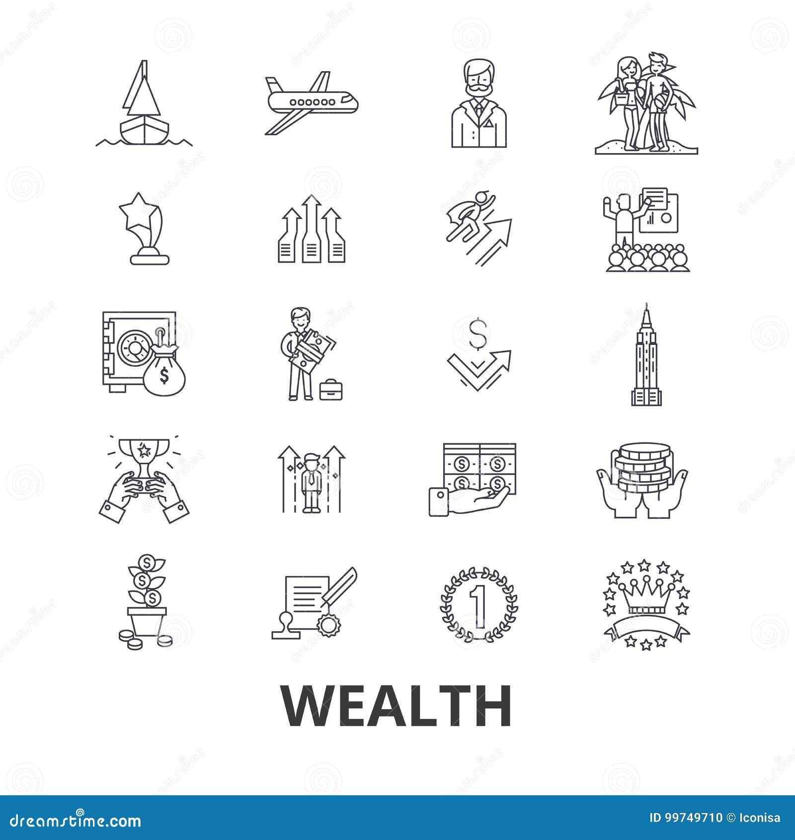 Rijkdom, bankwezen, geld, rijken, luxe, succes, welvaart, de pictogrammen van de investeringslijn Editableslagen Vlakke ontwerpve