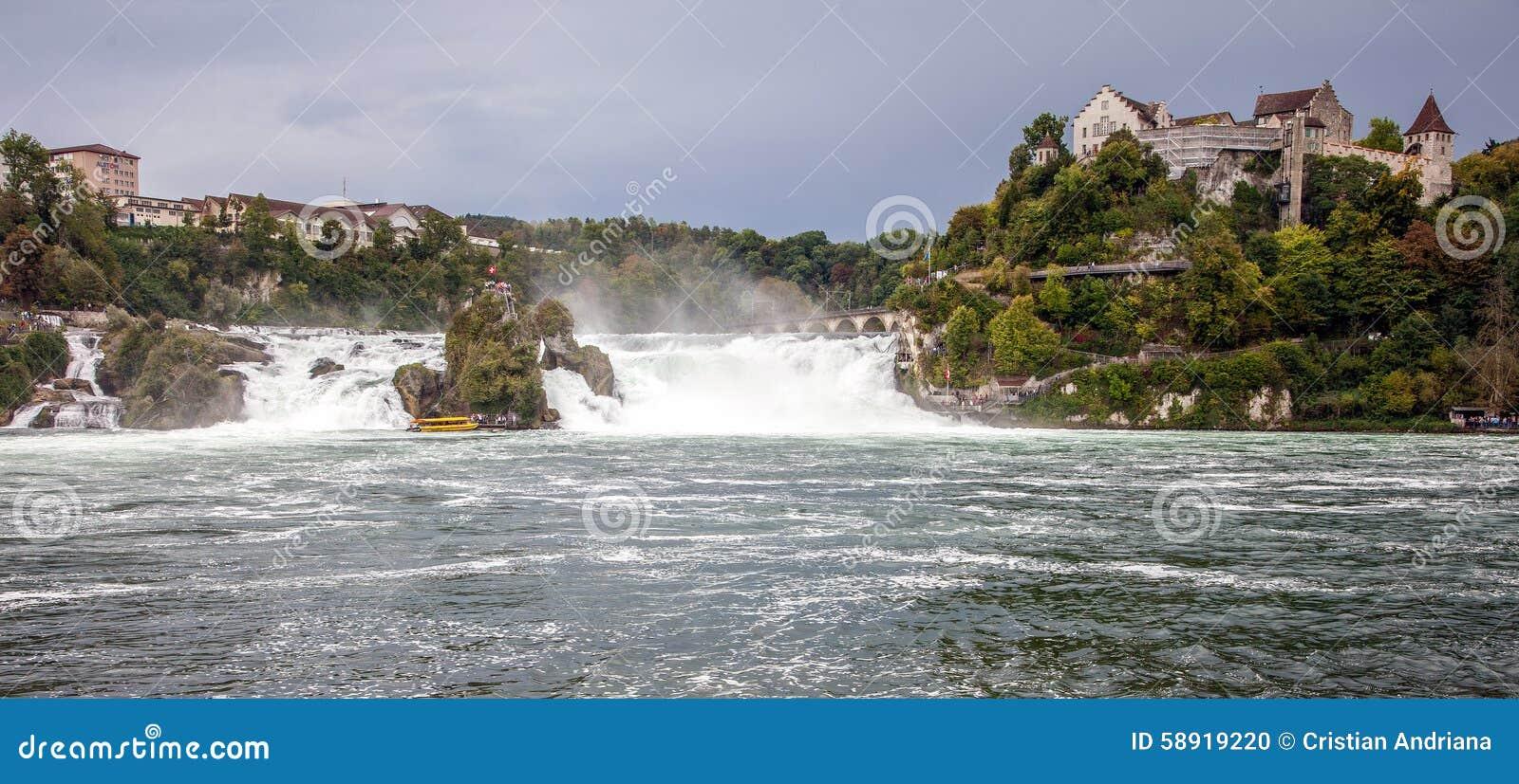Watervallen Van Schaffhausen Zwitserland.Rijn Dalingen Grootste Waterval In Europa Schaffhausen
