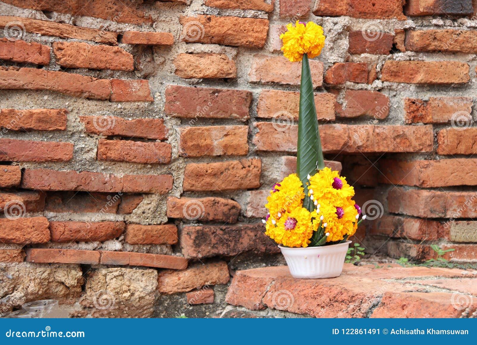 Rijst die van banaanblad en gele goudsbloembloem aanbieden op de baksteen