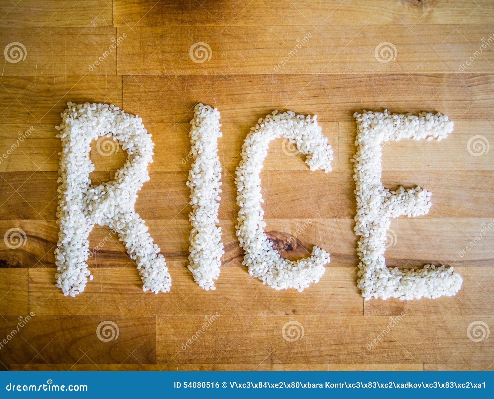 Rijstwoord van rijst wordt gemaakt die