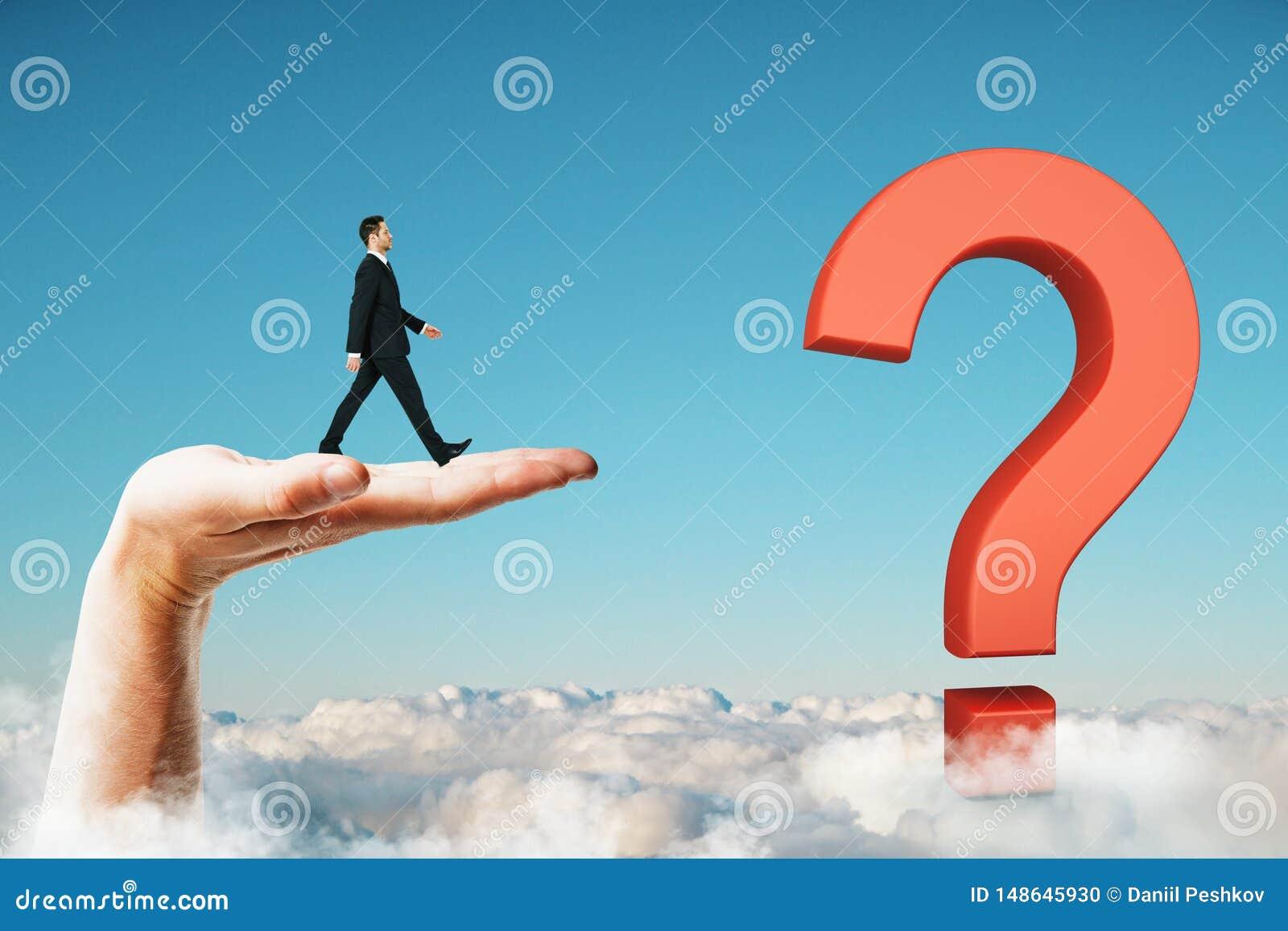Riktning, lösning, tvivel och framgångbegrepp