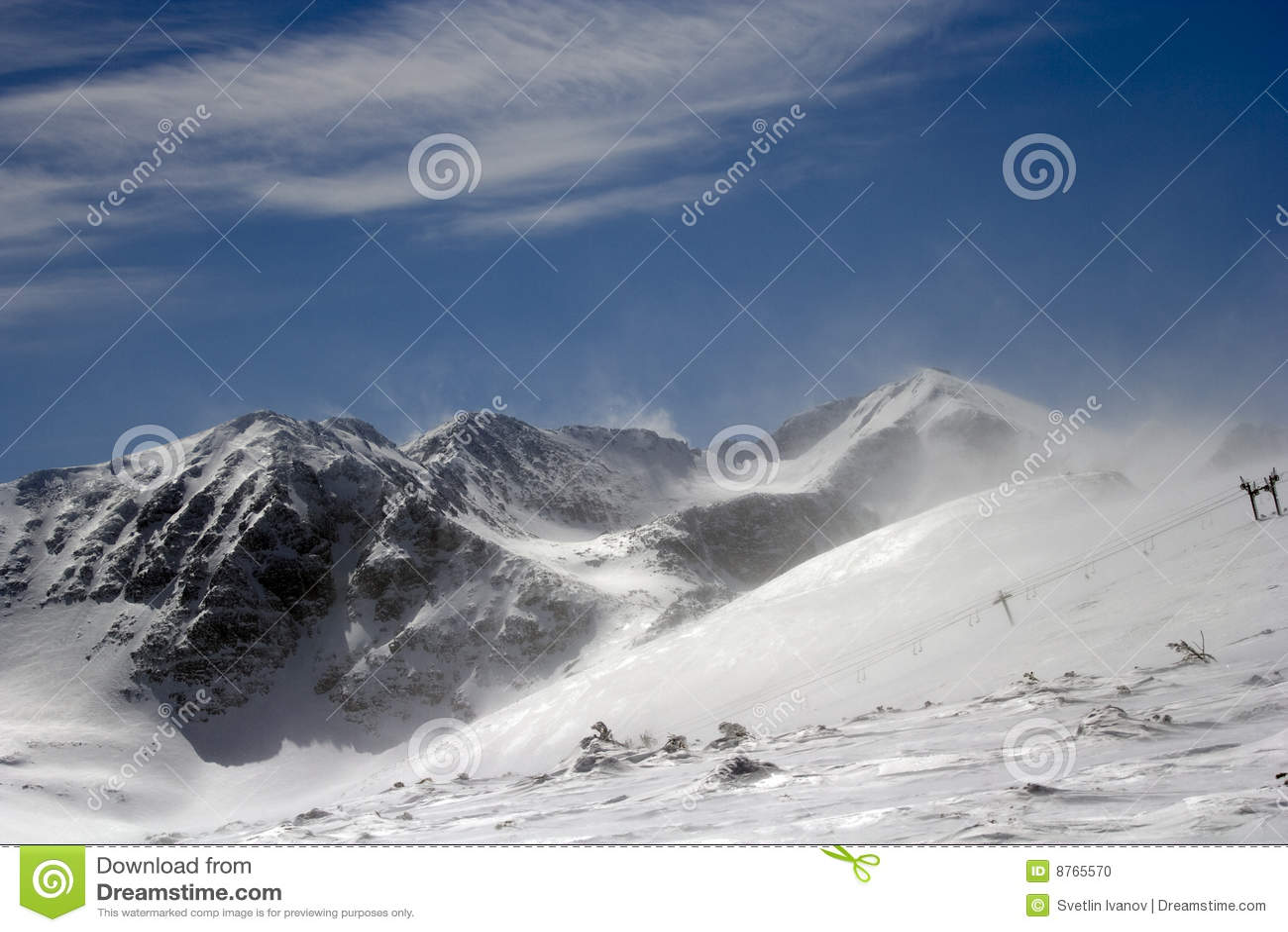Rila zimny halny silny wiatr