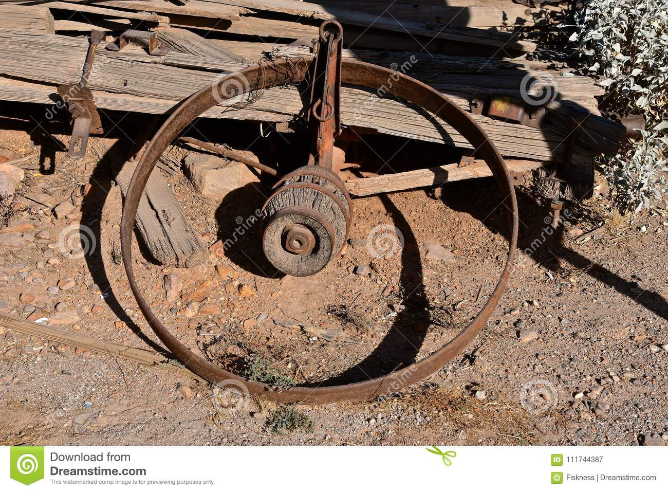 Rim And Hub Of An Old Wooden Wagon Stock Image - Image of