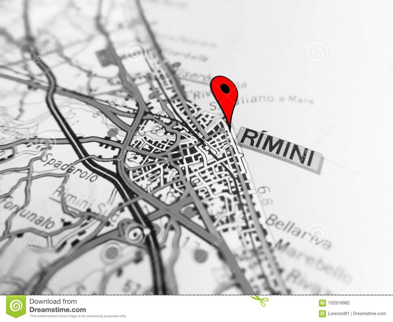 Rimini City Over A Road Map Italy Stock Photo Image Of Streets