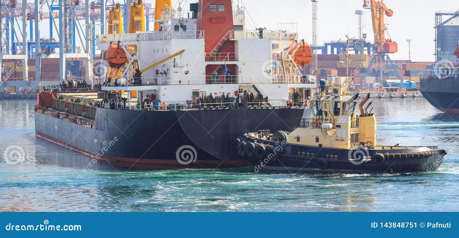 Rimorchiatore all arco della nave da carico, assistente la nave per manovrare