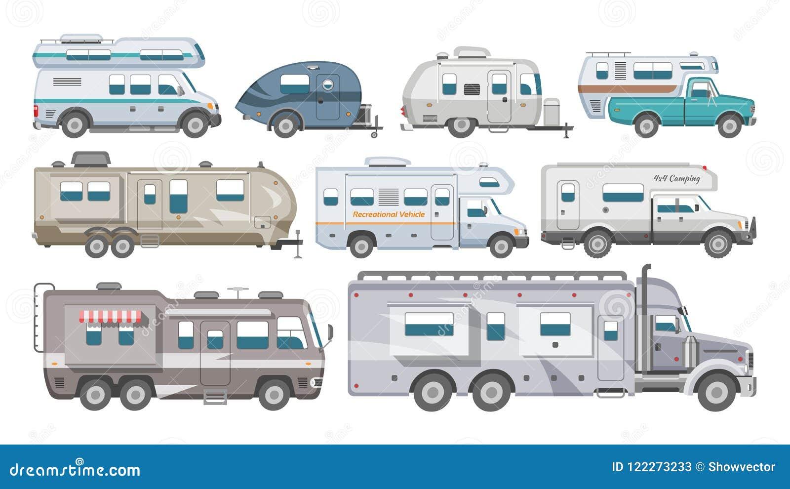 Rimorchio di campeggio di vettore rv del caravan e veicolo caravanning per l insieme trasportabile dell illustrazione di viaggio
