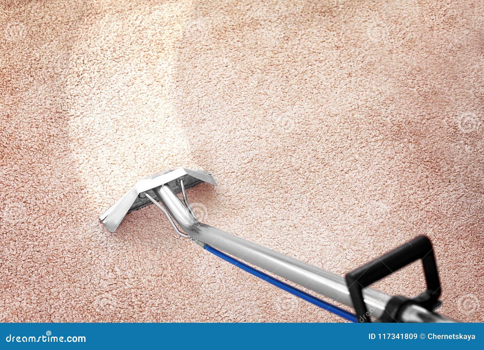 Rimuovendo sporcizia dal tappeto con il pulitore professionale all interno