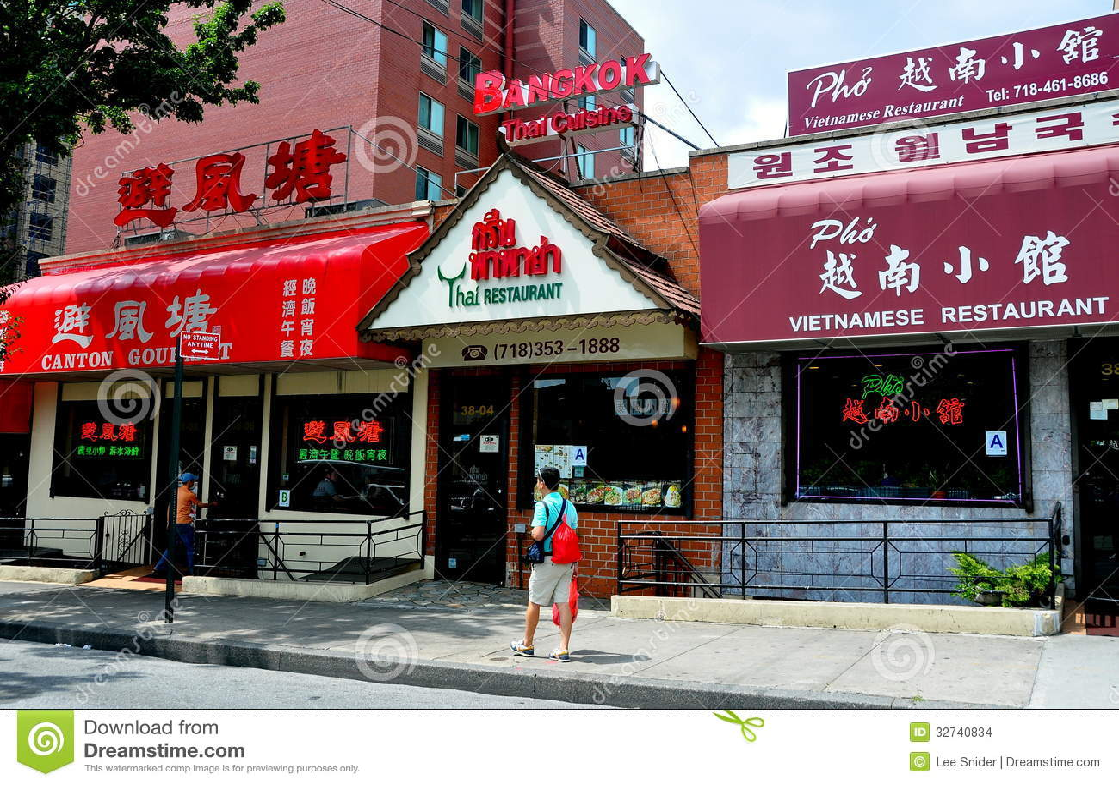 Rinçage Ny Restaurants Asiatiques Image Stock éditorial Image