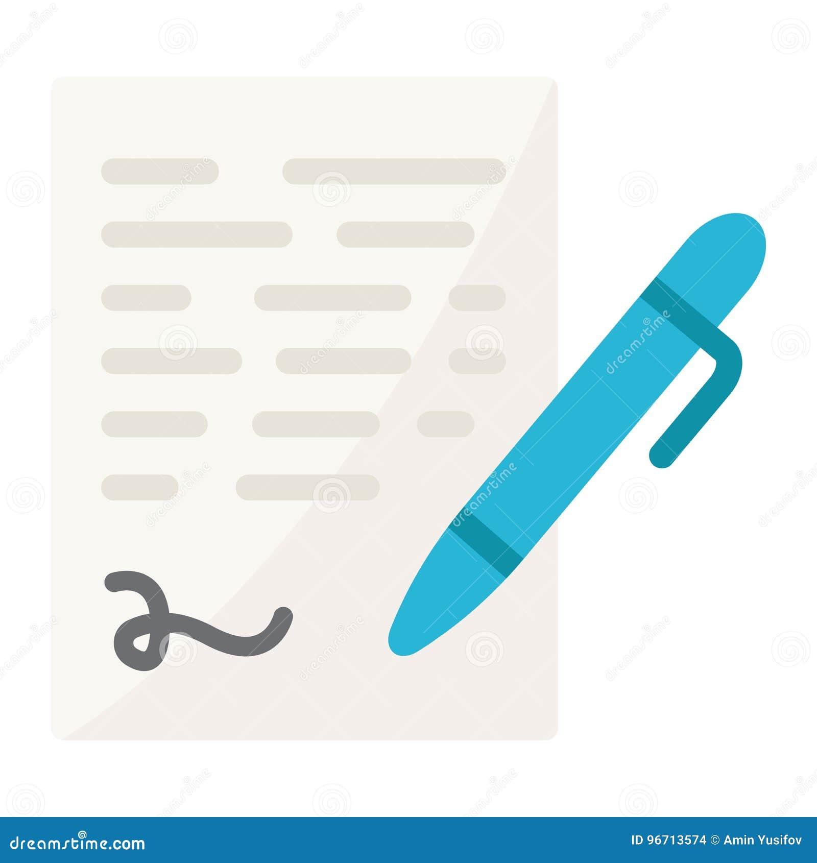 Rinchiuda l icona piana di firma, firma di contratto di affari