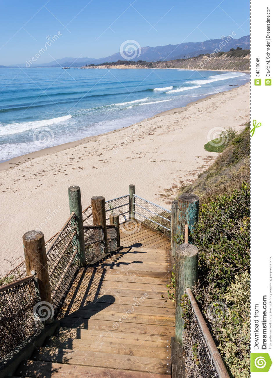 Rincon Park Beach Access Stock Image. Image Of Wooden