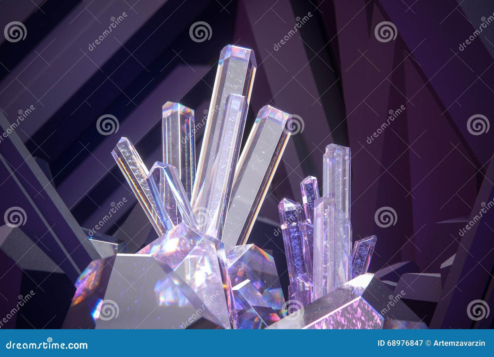 Rinda de los cristales 3d con el fondo violeta oscuro