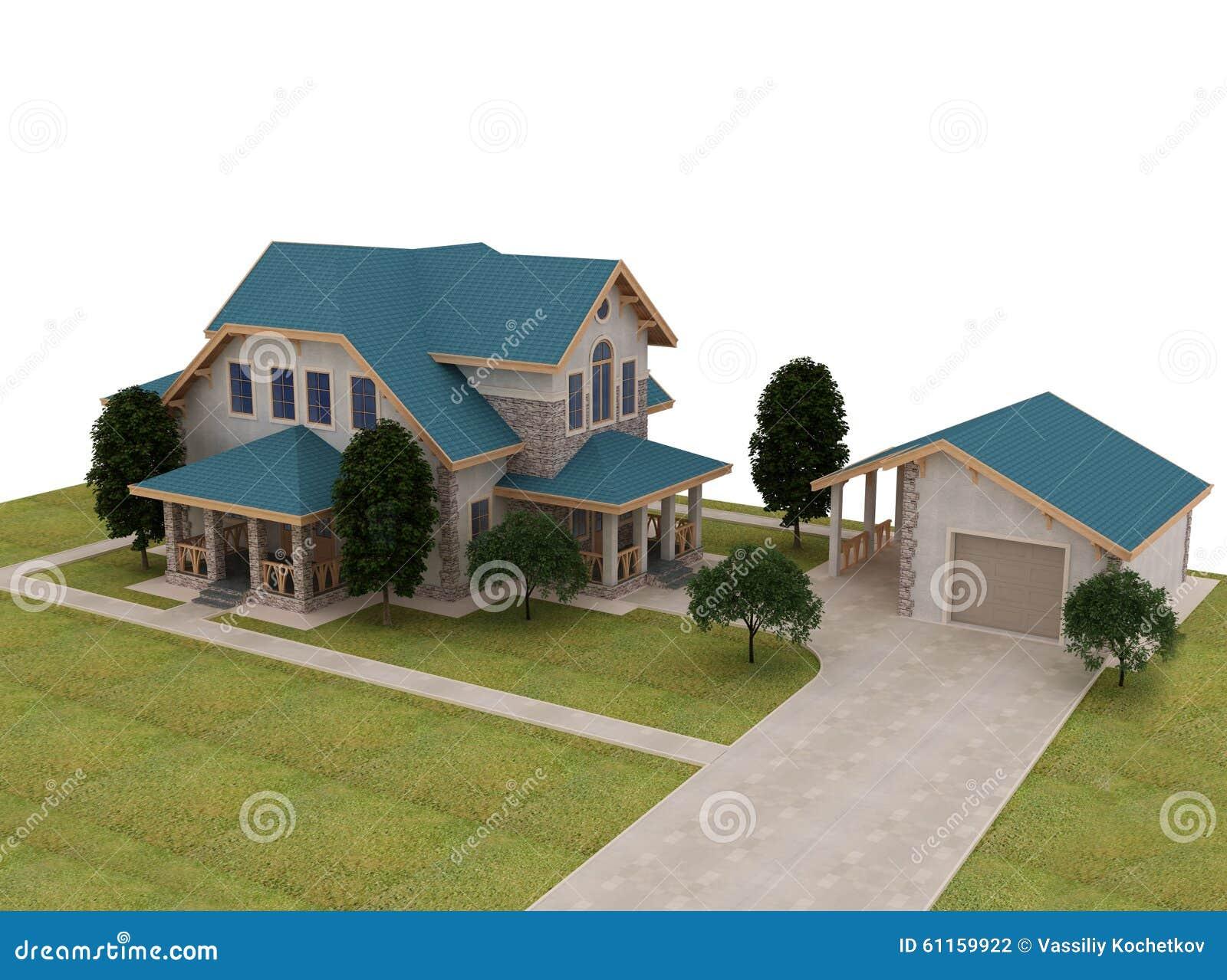 Rinda la cabaña 3d con un tejado azul