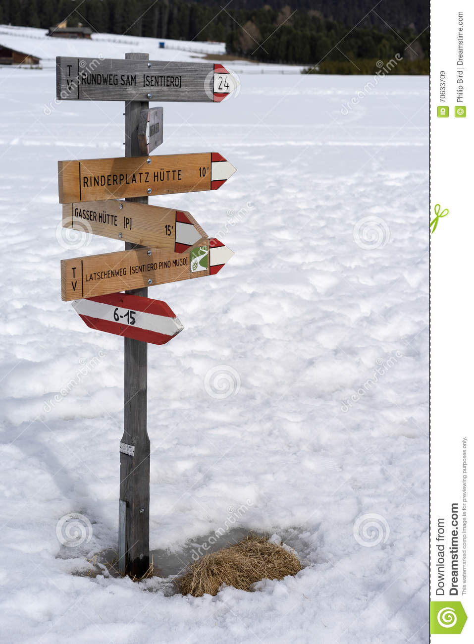 RINDERPLATZ, SOUTH TYROL/ITALY - MARCH 27 : Signpost on the Alp