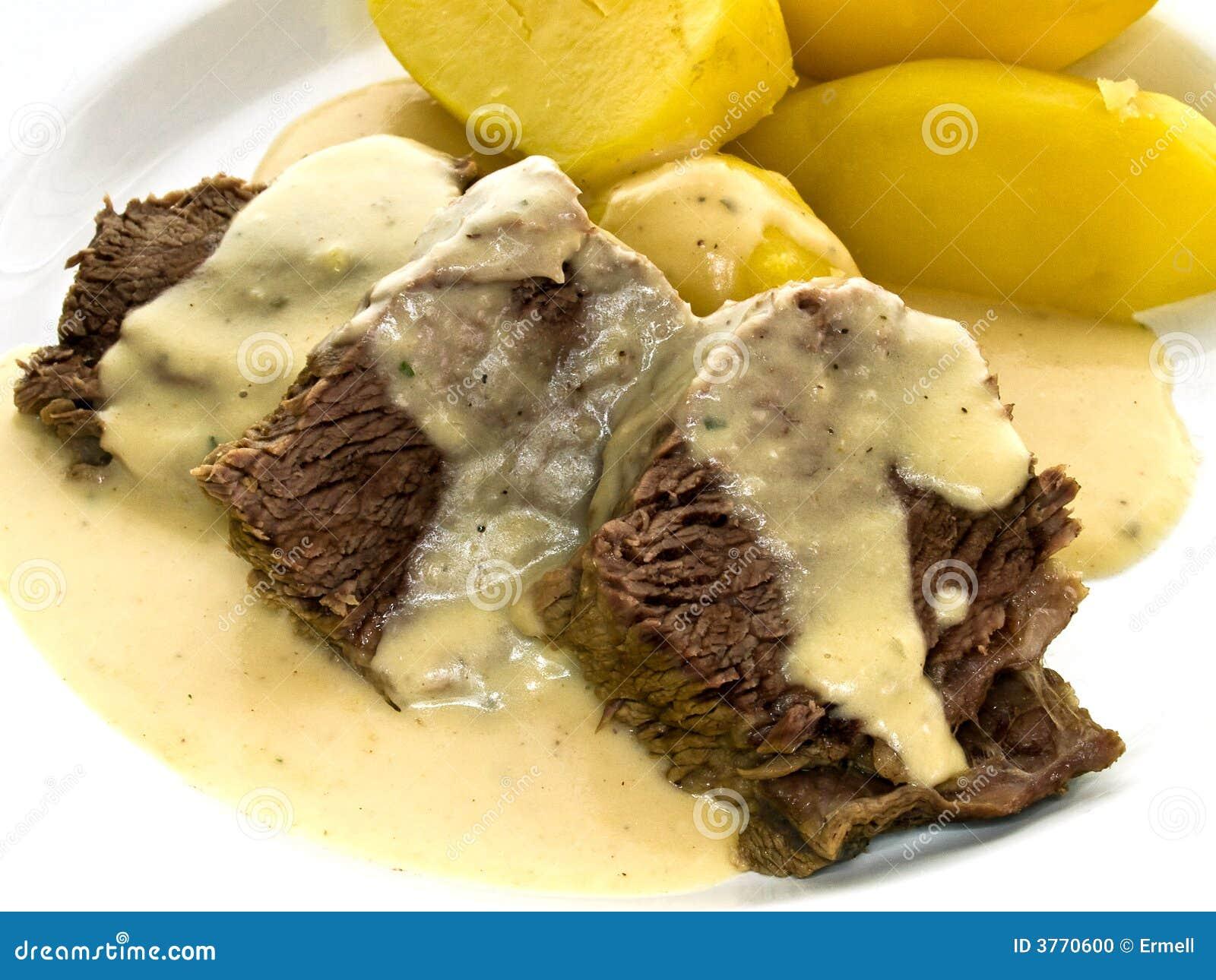 Rindfleisch Mit Meerrettich Und Kartoffeln Stockfoto Bild Von