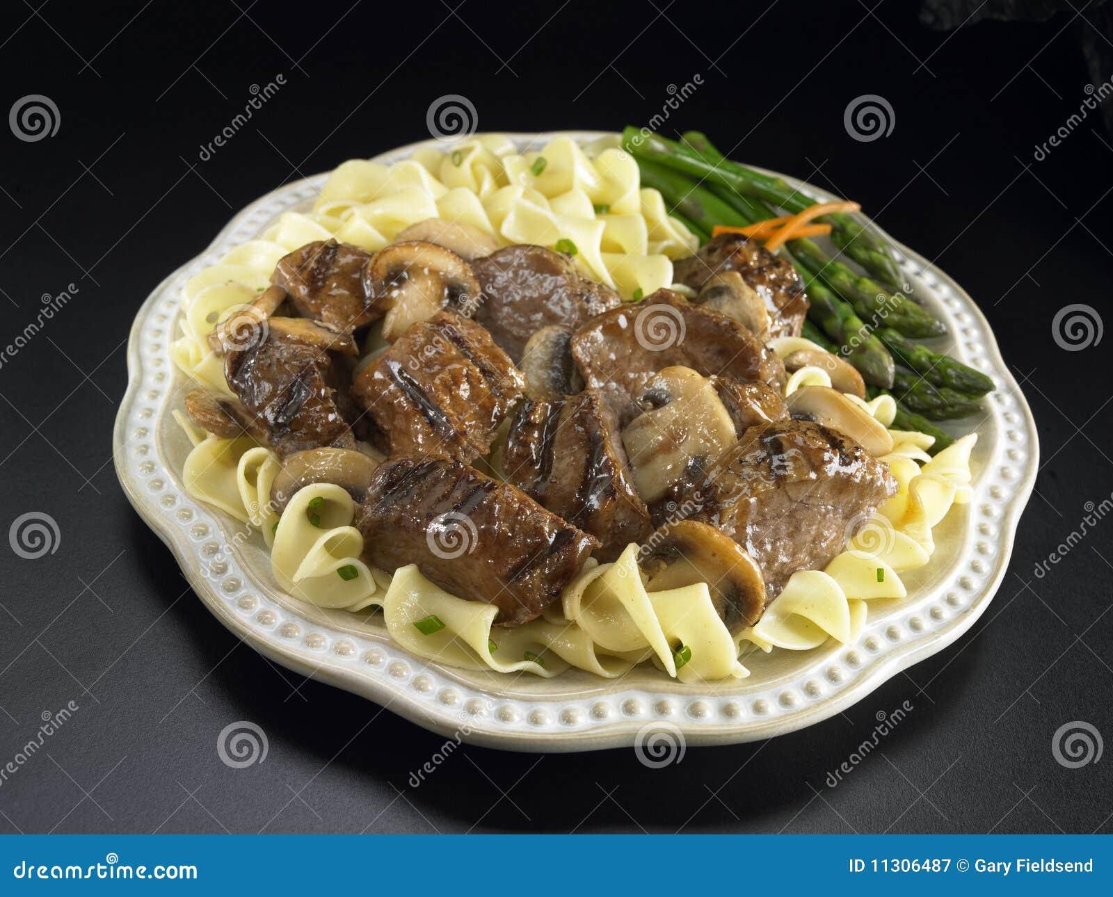 Rindfleischspitzen mit Weinpilzsoße