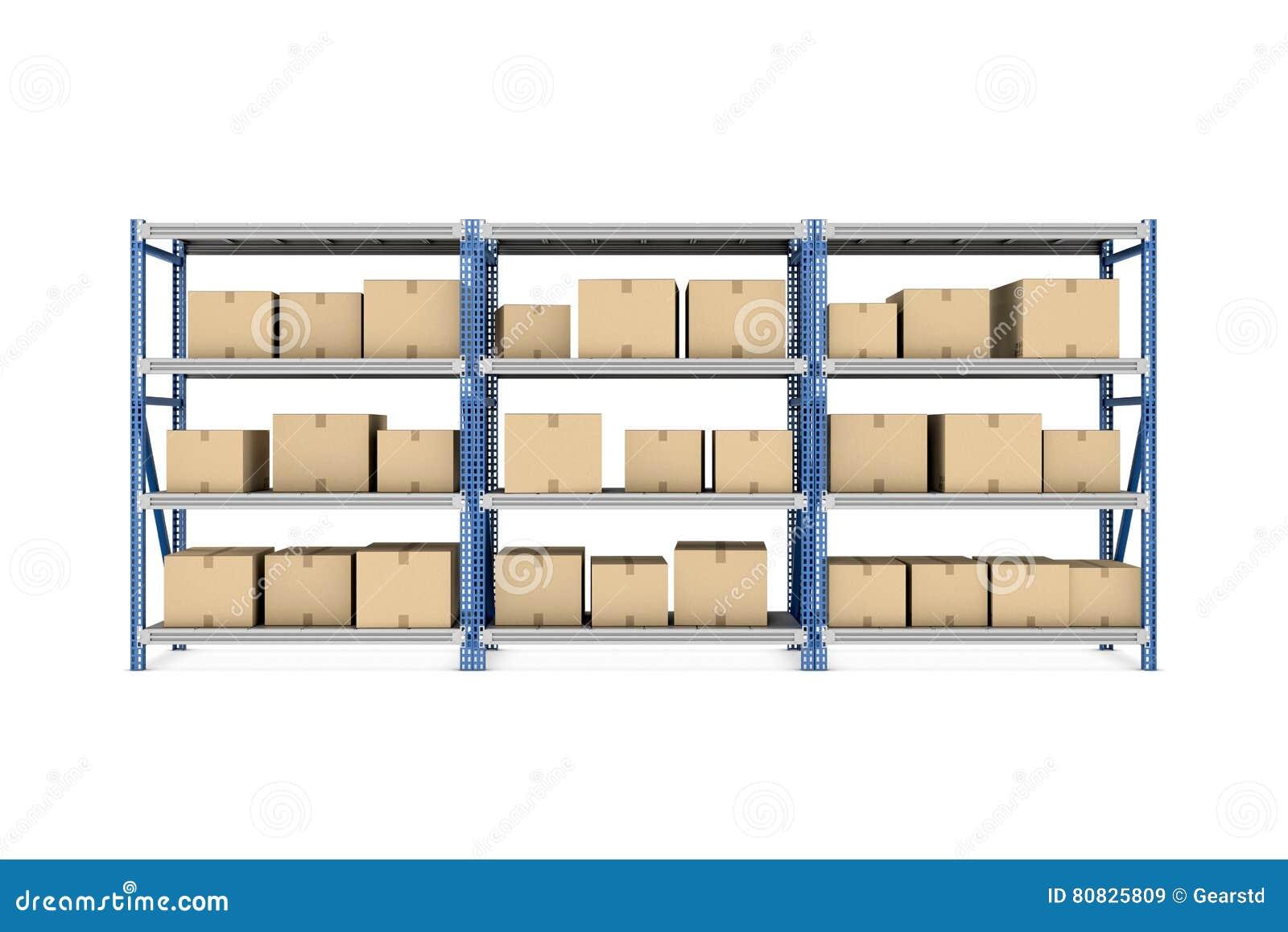 Rindiendo Tres Estantes Del Metal Puestos Así Como Las Cajas De ...
