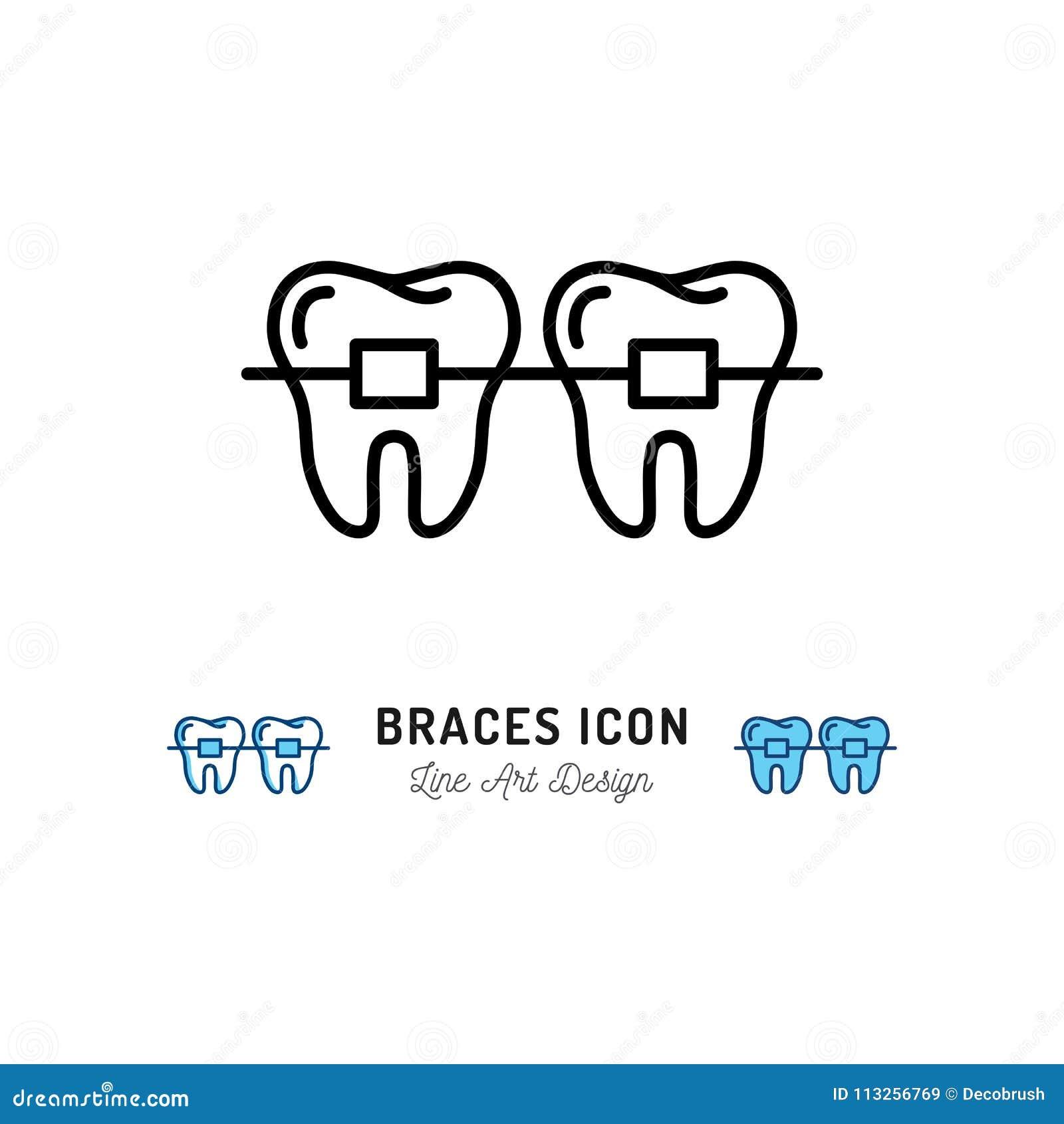 Rinforza l icona, cure odontoiatriche della stomatologia I ganci dei denti assottigliano la linea icone di arte Illustrazione di
