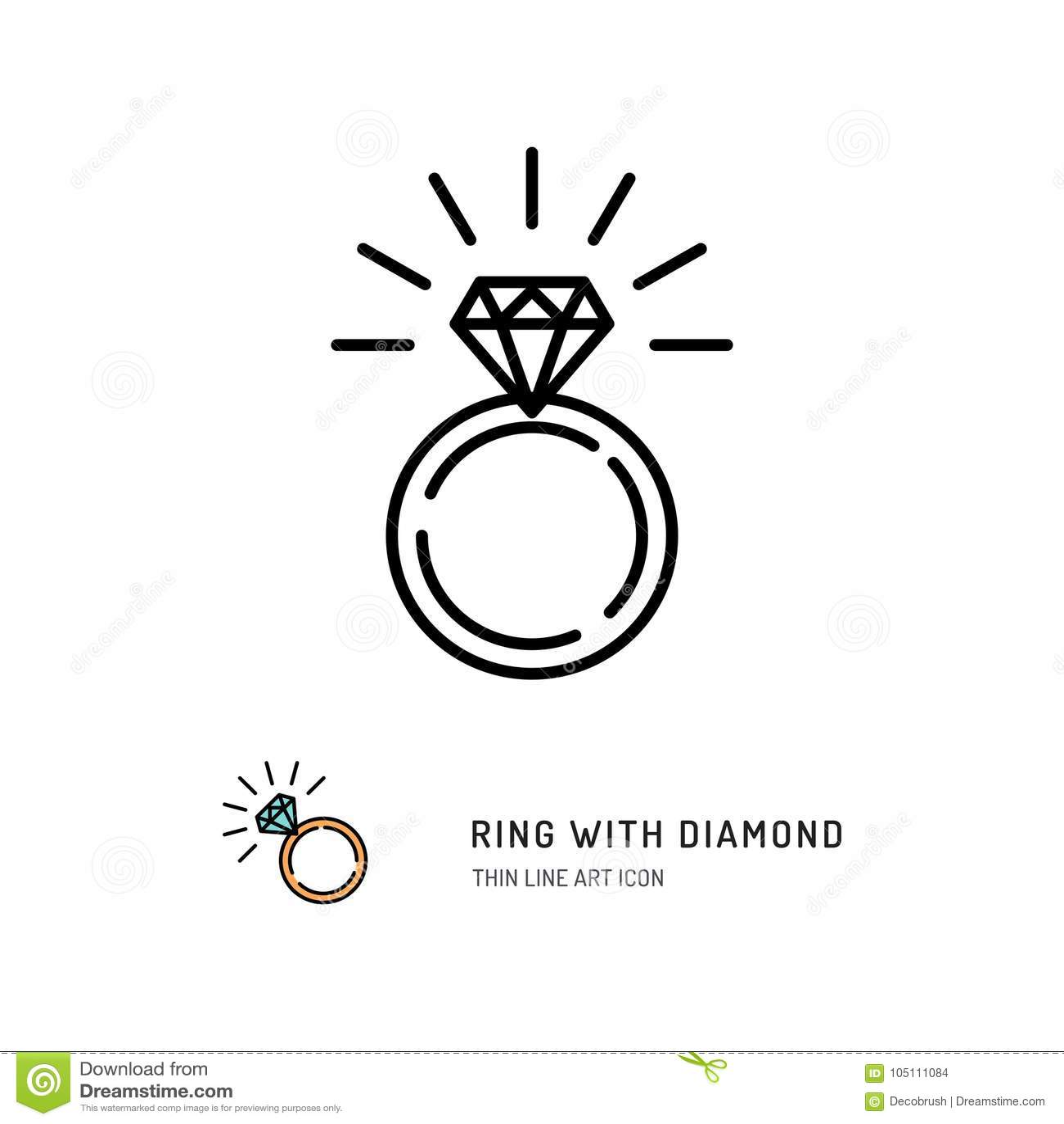 Ring With Diamond Icon, impegno e fede nuziale Linea progettazione di arte, illustrazione di vettore
