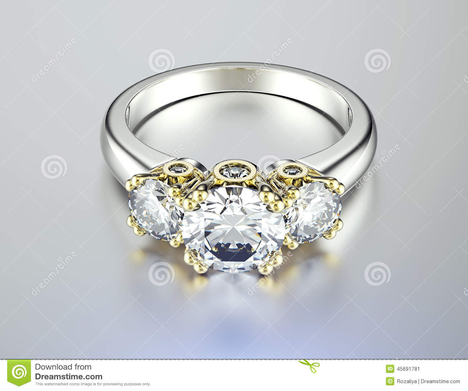 Hochzeitsring mit Diamanten Gold-und Silber-schwarzer Gewebe ...