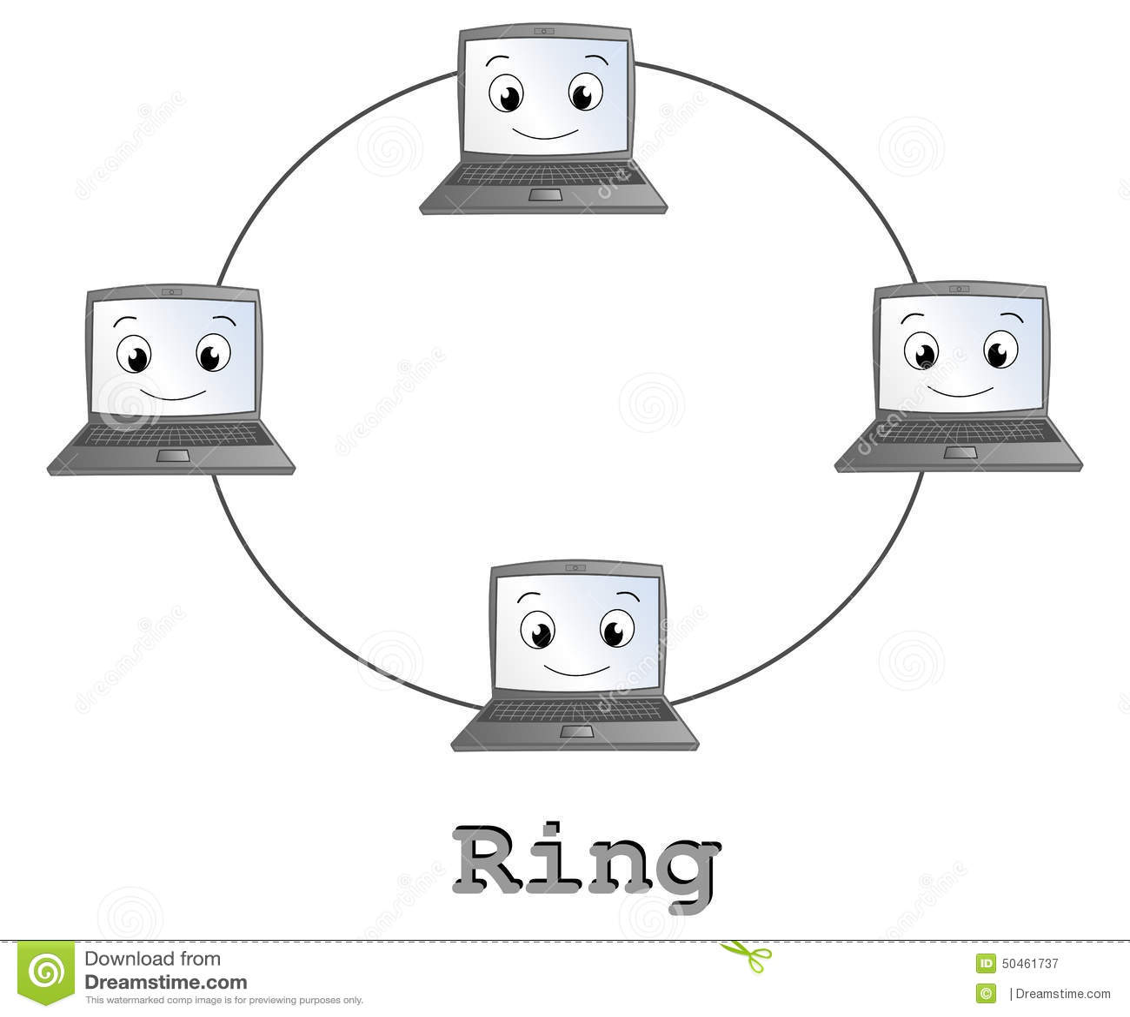 ring network topology stock illustration