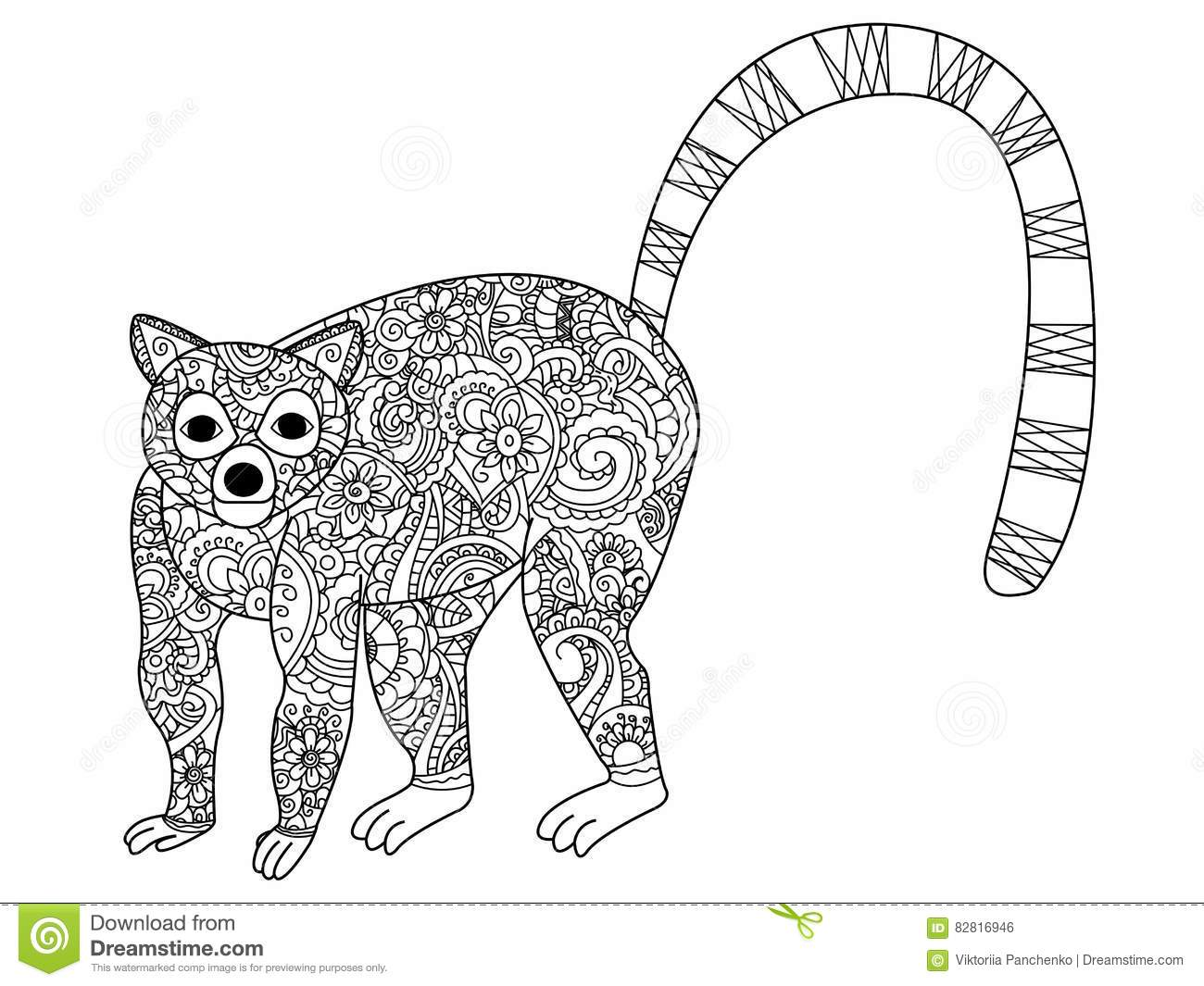 Ring Tailed Lemur Coloring Vector For Adults Stock Vector Image