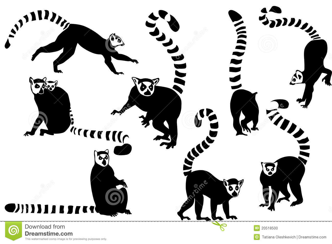 Black and white silhouettes of ring-tailed lemurs collage.
