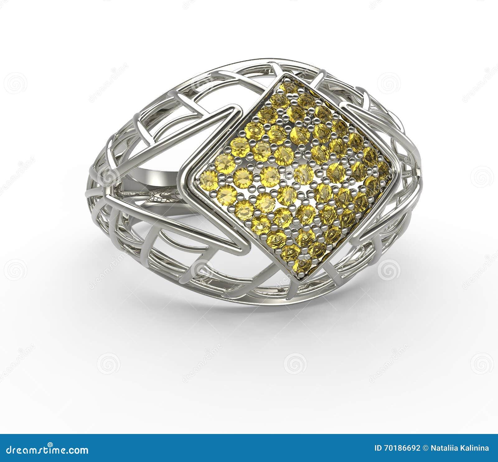 Ringa med diamanten och stenlägga illustration 3d