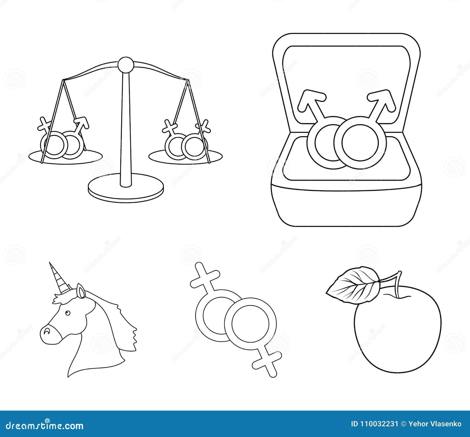 Ringen, saldo, feminisme, eenhoorn De pictogrammen van de Gaysetinzameling in van de het symboolvoorraad van de overzichtsstijl v