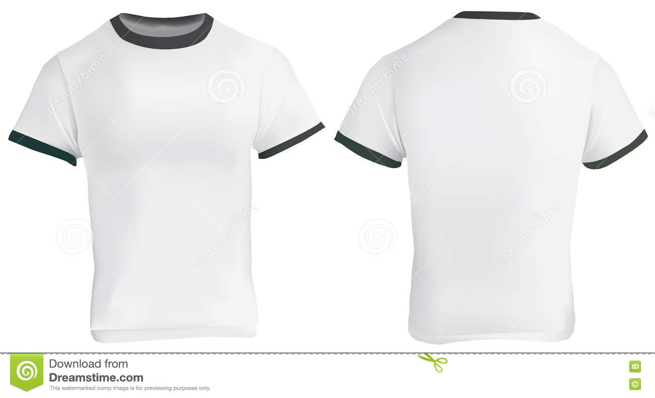 White t shirt front and back template - Ringer T Shirt Template Stock Image