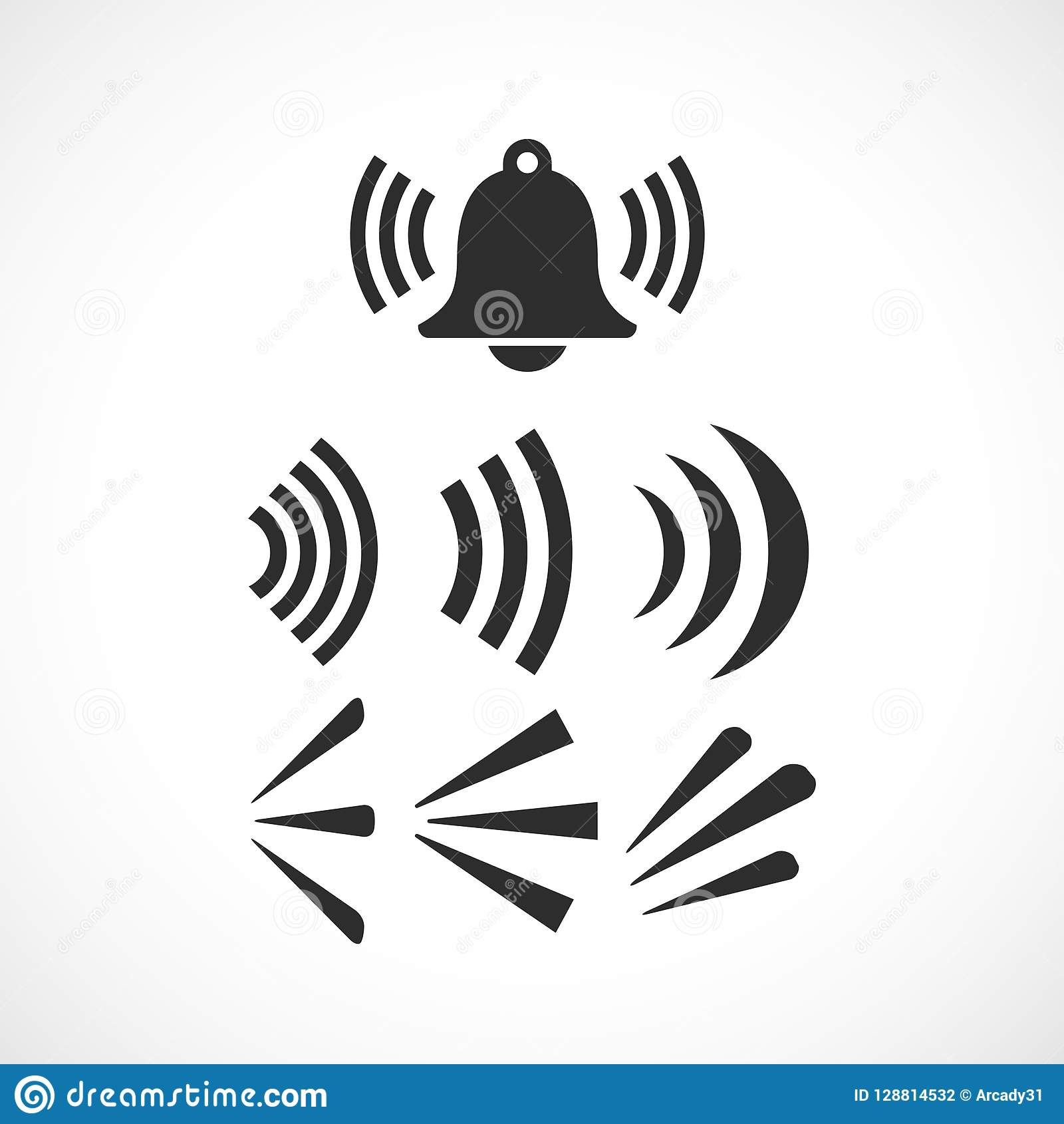 Ringing Bell Sound Vector Icon Stock Vector - Illustration