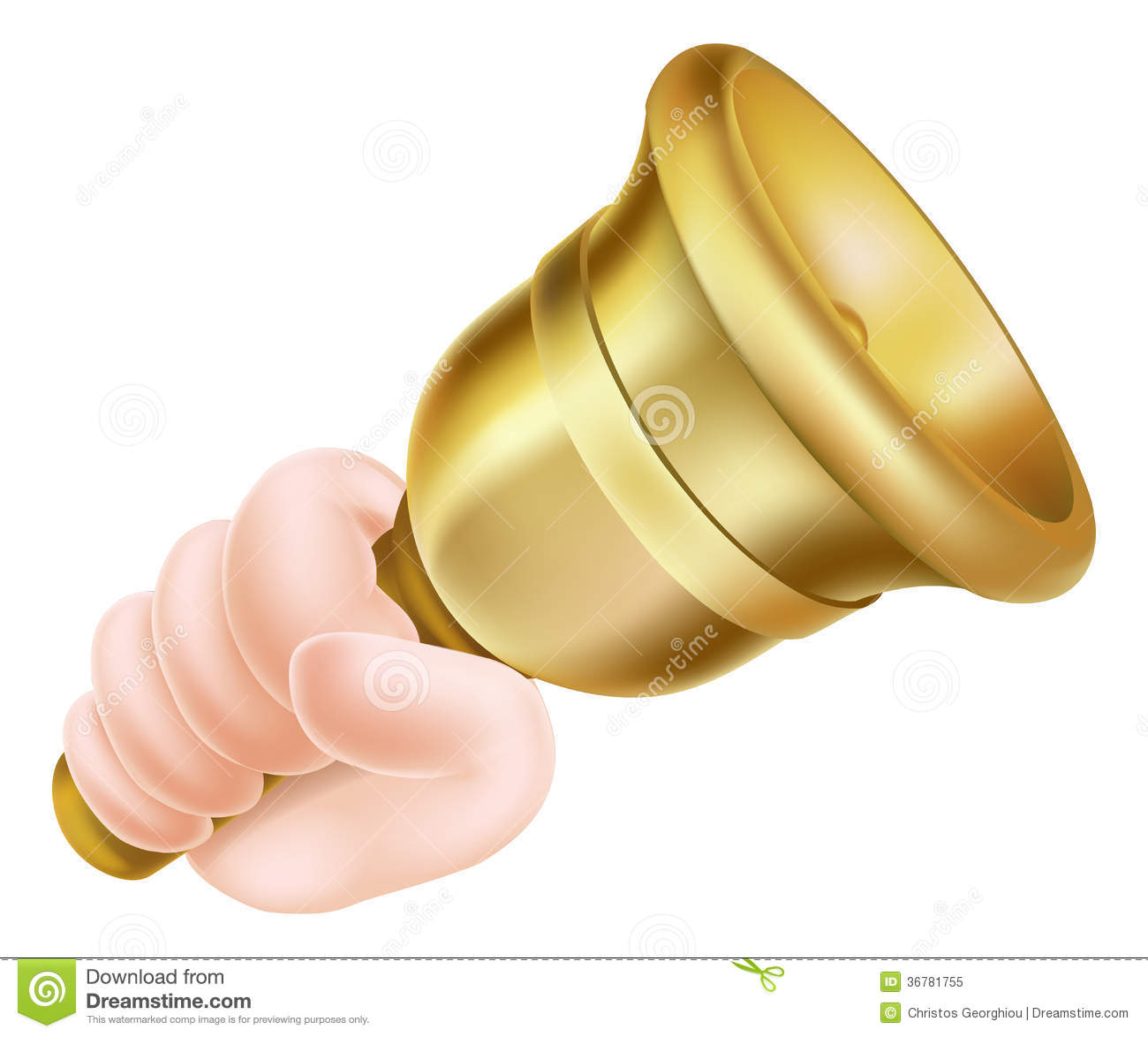 Illustration of a cartoon hand holding a gold hand bell and ringing it ...