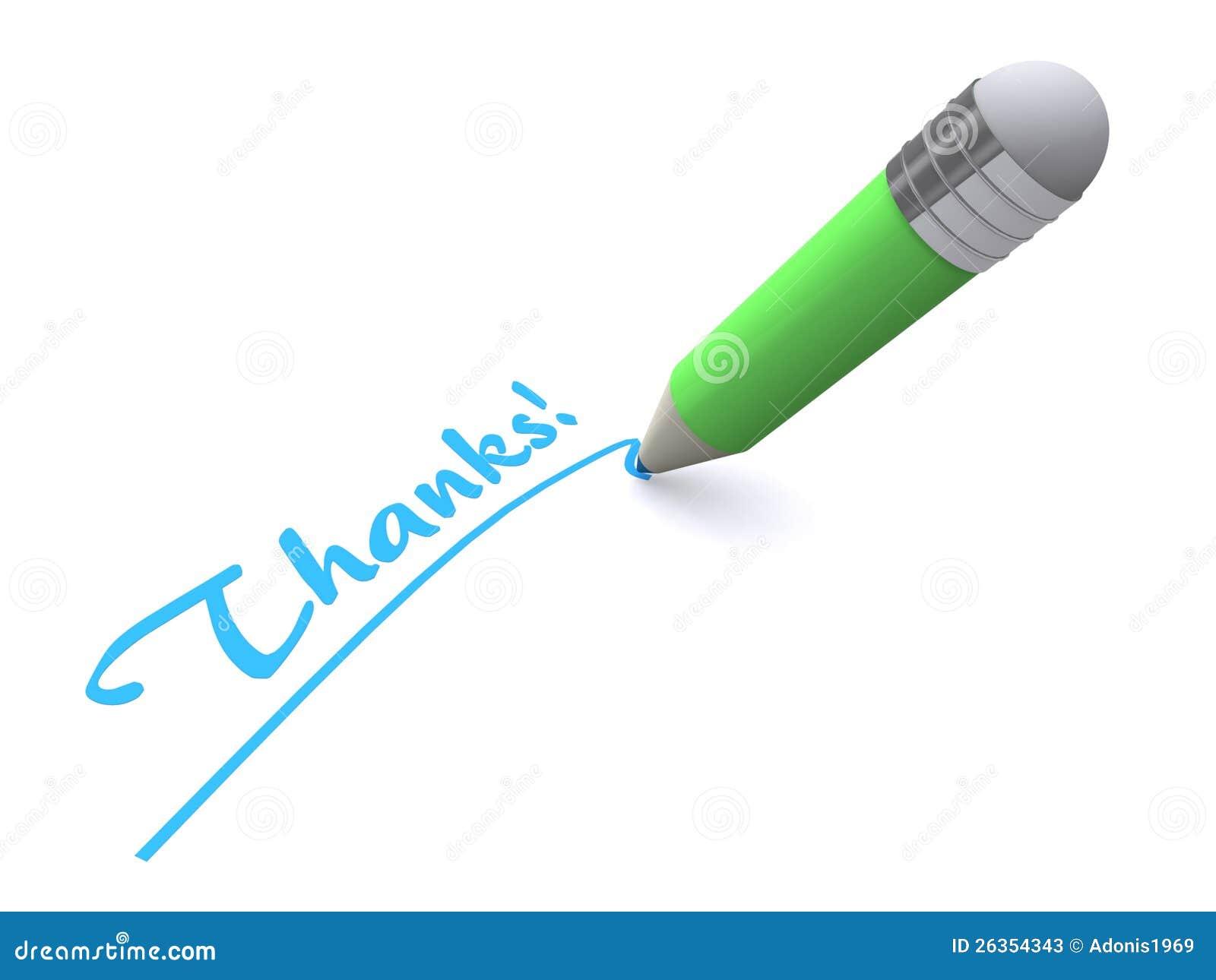 Ringraziamenti di parola di scrittura della penna