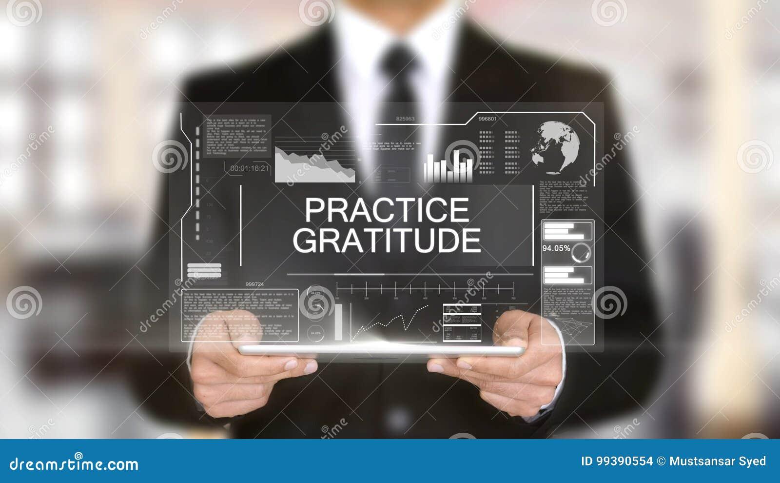 Ringraziamento di pratica, interfaccia futuristica dell ologramma, realtà virtuale aumentata