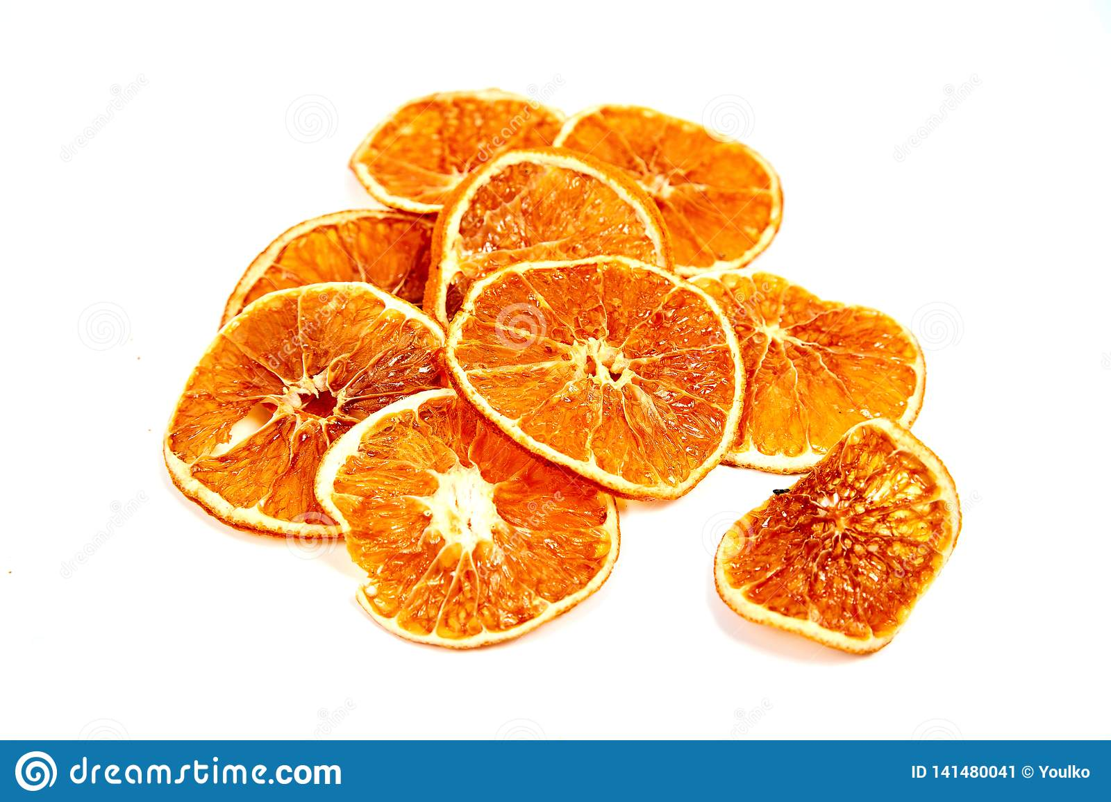 rings of dried tangerine on a white background