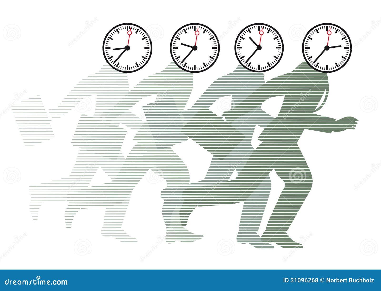 Rinnande män med klockor som huvud