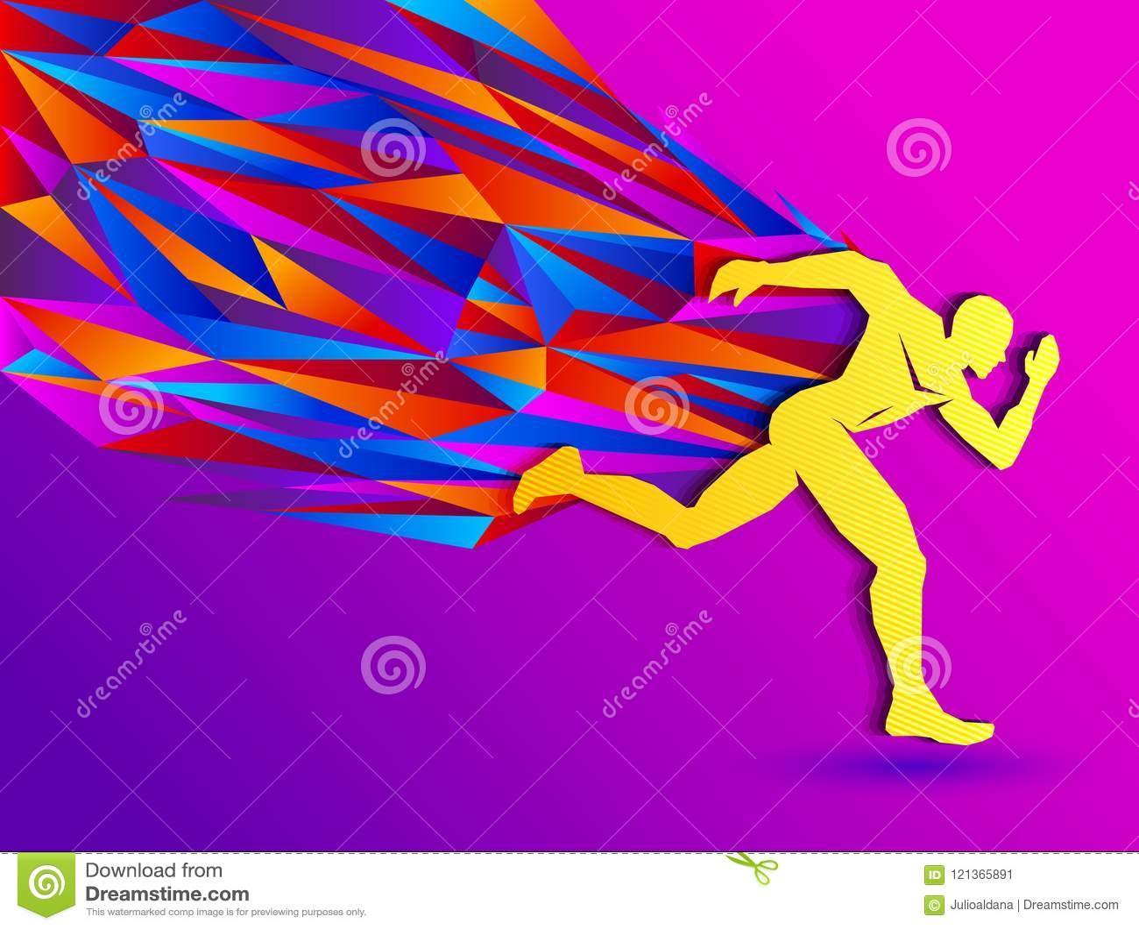 Rinnande man, abstrakt sportkontur, friidrottbegrepp med den färgrika löparen