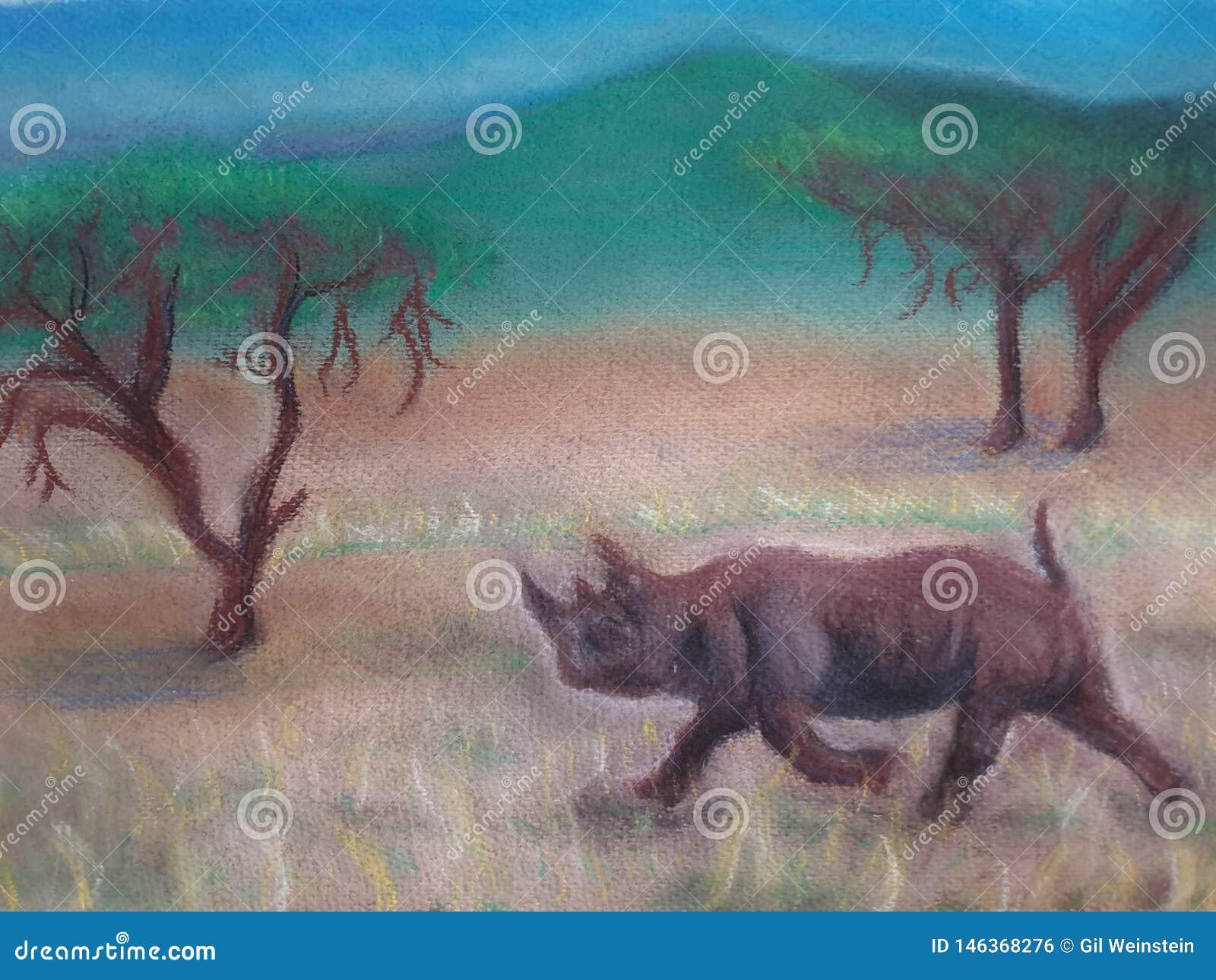 Rinoceronte en arte abierto de la atmósfera del campo