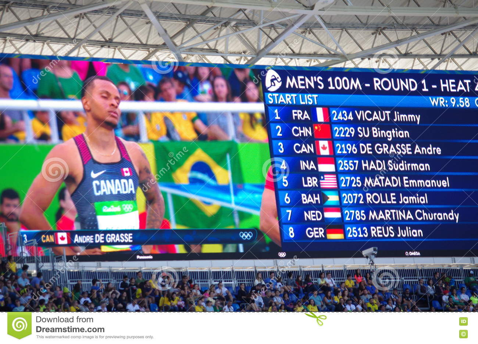 Rio2016 οθόνη Ολυμπιακών Αγώνων με το Andre de Grasse